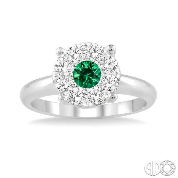 3.8 MM Round Cut Emerald and 1/3 Ctw Lovebright Diamond Ring in 14K White Gold Image 2 Robert Irwin Jewelers Memphis, TN