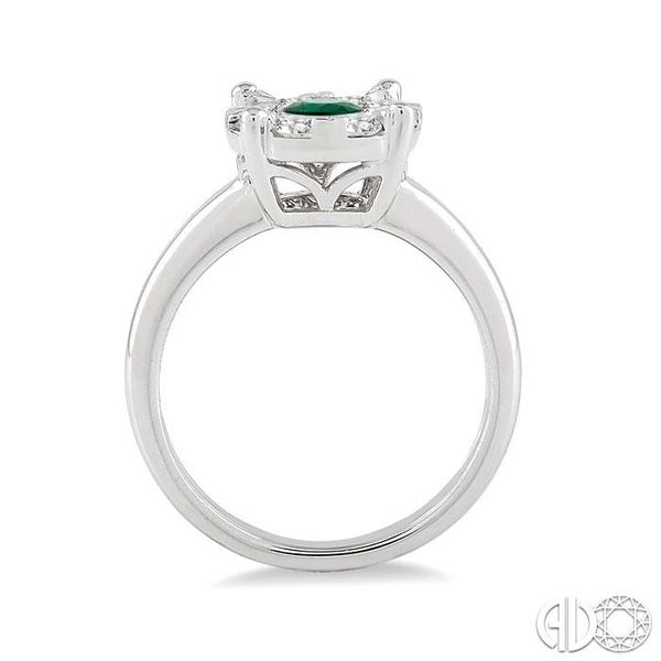 3.8 MM Round Cut Emerald and 1/3 Ctw Lovebright Diamond Ring in 14K White Gold Image 3 Robert Irwin Jewelers Memphis, TN
