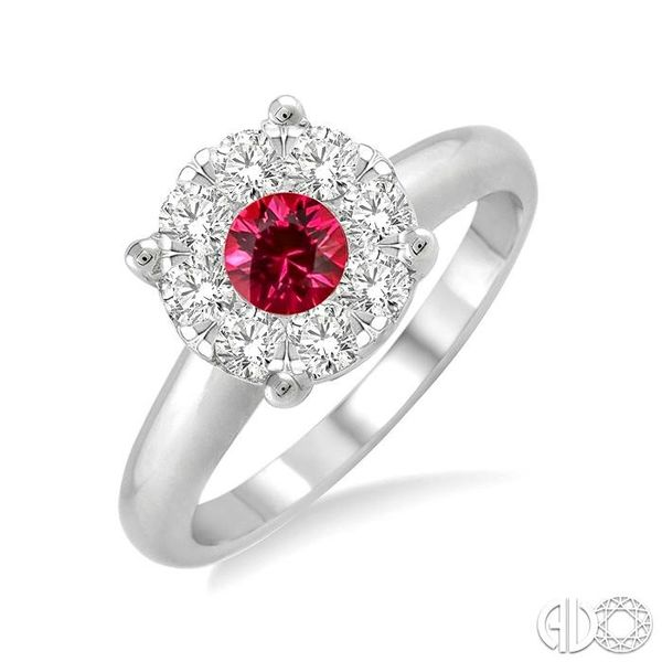 3.8 MM Round Cut Ruby and 1/3 Ctw Lovebright Diamond Ring in 14K White Gold Robert Irwin Jewelers Memphis, TN