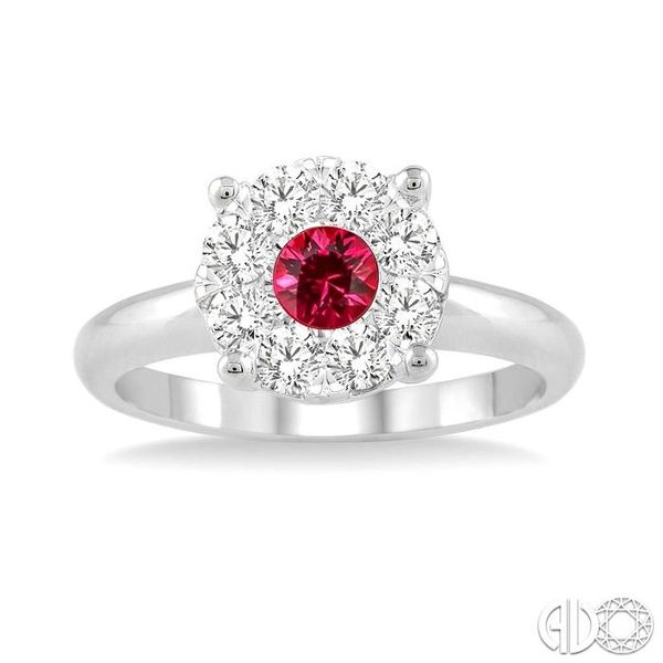3.8 MM Round Cut Ruby and 1/3 Ctw Lovebright Diamond Ring in 14K White Gold Image 2 Robert Irwin Jewelers Memphis, TN