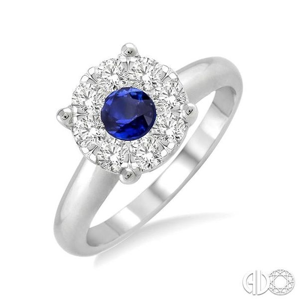 3.8 MM Round Cut Sapphire and 1/3 Ctw Lovebright Diamond Ring in 14K White Gold Robert Irwin Jewelers Memphis, TN