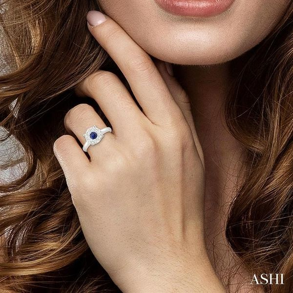 3.8 MM Round Cut Sapphire and 1/3 Ctw Lovebright Diamond Ring in 14K White Gold Image 4 Robert Irwin Jewelers Memphis, TN