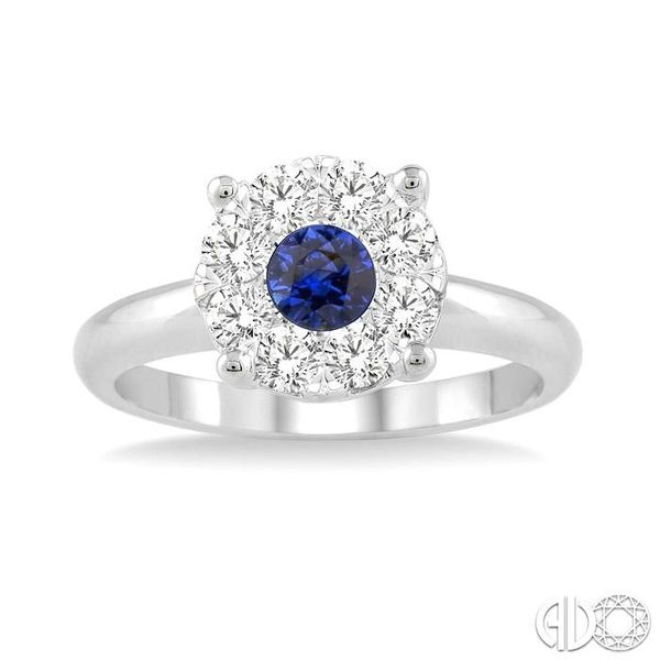 3.8 MM Round Cut Sapphire and 1/3 Ctw Lovebright Diamond Ring in 14K White Gold Image 2 Robert Irwin Jewelers Memphis, TN