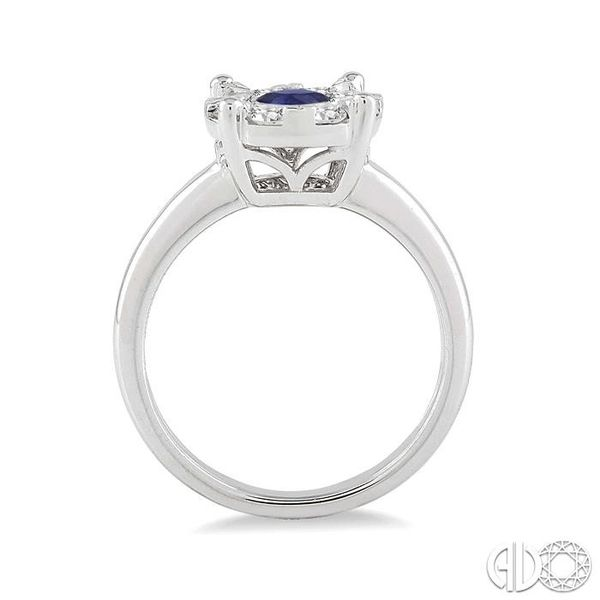 3.8 MM Round Cut Sapphire and 1/3 Ctw Lovebright Diamond Ring in 14K White Gold Image 3 Robert Irwin Jewelers Memphis, TN