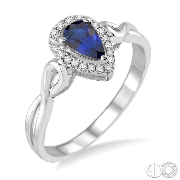 6x4 MM Pear Shape Sapphire and 1/10 Ctw Round Cut Diamond Ring in 14K White Gold Robert Irwin Jewelers Memphis, TN