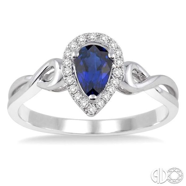 6x4 MM Pear Shape Sapphire and 1/10 Ctw Round Cut Diamond Ring in 14K White Gold Image 2 Robert Irwin Jewelers Memphis, TN