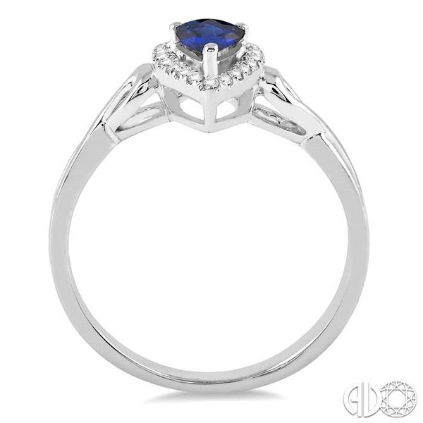 6x4 MM Pear Shape Sapphire and 1/10 Ctw Round Cut Diamond Ring in 14K White Gold Image 3 Robert Irwin Jewelers Memphis, TN