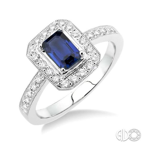 6x4MM Octagon Cut Sapphire and 1/3 Ctw Round Cut Diamond Ring in 18K White Gold Robert Irwin Jewelers Memphis, TN