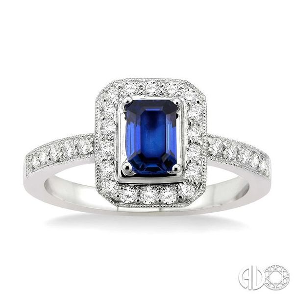 6x4MM Octagon Cut Sapphire and 1/3 Ctw Round Cut Diamond Ring in 18K White Gold Image 2 Robert Irwin Jewelers Memphis, TN