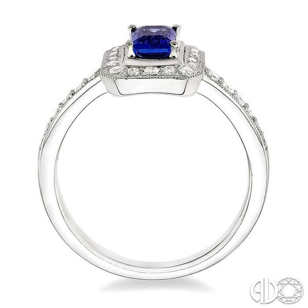6x4MM Octagon Cut Sapphire and 1/3 Ctw Round Cut Diamond Ring in 18K White Gold Image 3 Robert Irwin Jewelers Memphis, TN