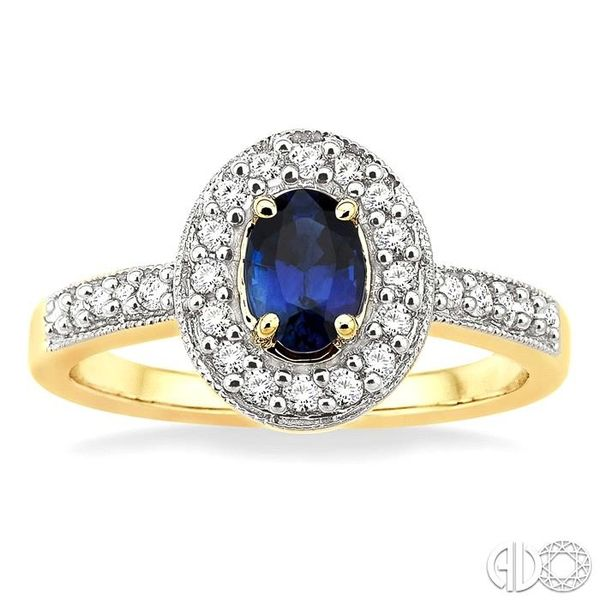 6x4mm Oval Cut Sapphire and 1/4 Ctw Round Cut Diamond Ring in 14K Yellow Gold Image 2 Robert Irwin Jewelers Memphis, TN