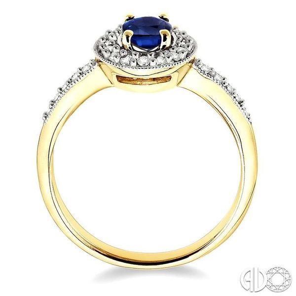 6x4mm Oval Cut Sapphire and 1/4 Ctw Round Cut Diamond Ring in 14K Yellow Gold Image 3 Robert Irwin Jewelers Memphis, TN