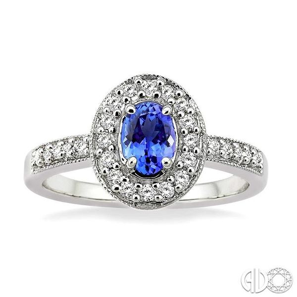 6x4mm Oval Cut Tanzanite and 1/4 Ctw Round Cut Diamond Ring in 14K White Gold Image 2 Robert Irwin Jewelers Memphis, TN