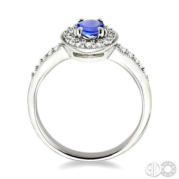 6x4mm Oval Cut Tanzanite and 1/4 Ctw Round Cut Diamond Ring in 14K White Gold Image 3 Robert Irwin Jewelers Memphis, TN