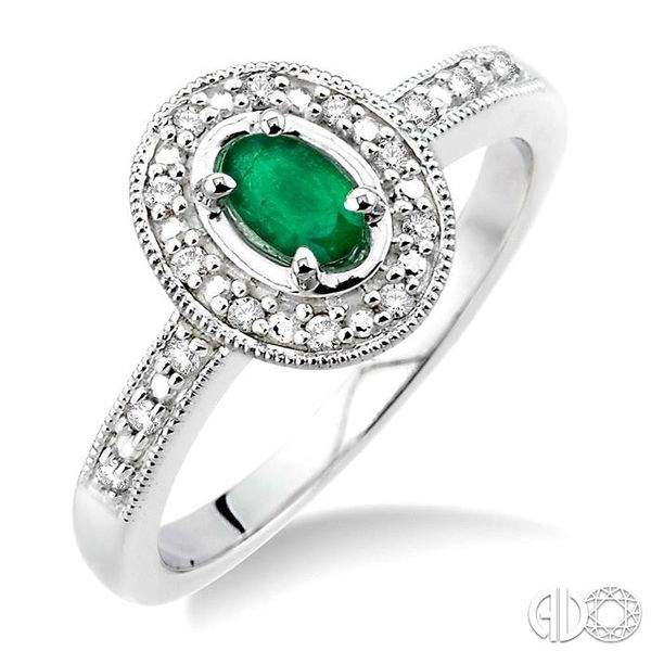 5x3mm Oval Shape Emerald and 1/10 Ctw Single Cut Diamond Ring in 10K White Gold Robert Irwin Jewelers Memphis, TN