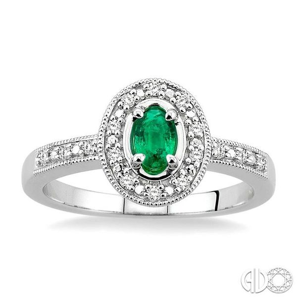 5x3mm Oval Shape Emerald and 1/10 Ctw Single Cut Diamond Ring in 10K White Gold Image 2 Robert Irwin Jewelers Memphis, TN