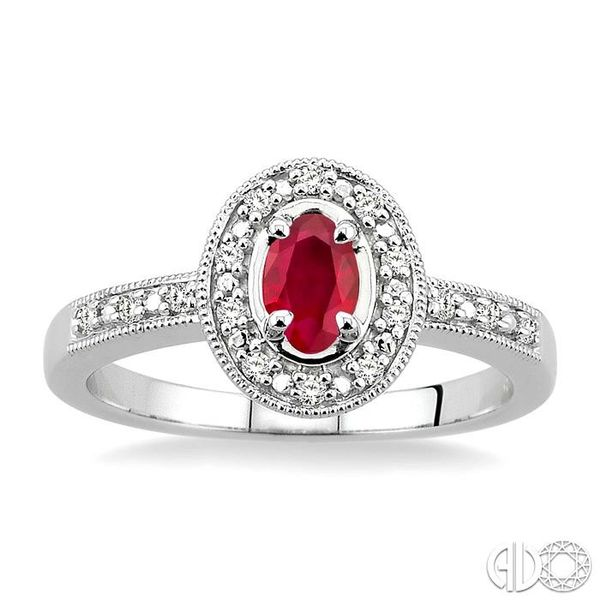 5x3mm Oval Cut Ruby and 1/10 Ctw Single Cut Diamond Ring in 10K White Gold. Image 2 Robert Irwin Jewelers Memphis, TN