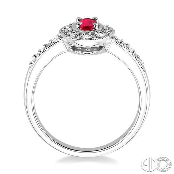 5x3mm Oval Cut Ruby and 1/10 Ctw Single Cut Diamond Ring in 10K White Gold. Image 3 Robert Irwin Jewelers Memphis, TN