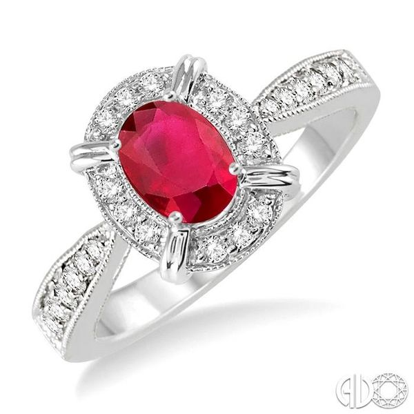 6x4 MM Oval Shape Ruby and 1/6 Ctw Single Cut Diamond Ring in 14K White Gold Robert Irwin Jewelers Memphis, TN