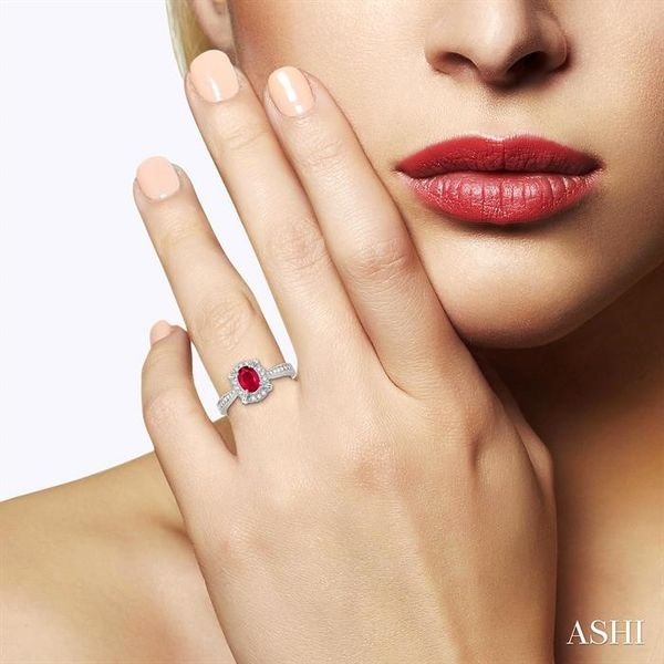 6x4 MM Oval Shape Ruby and 1/6 Ctw Single Cut Diamond Ring in 14K White Gold Image 4 Robert Irwin Jewelers Memphis, TN