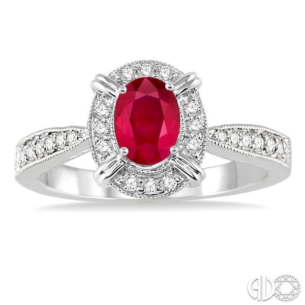 6x4 MM Oval Shape Ruby and 1/6 Ctw Single Cut Diamond Ring in 14K White Gold Image 2 Robert Irwin Jewelers Memphis, TN