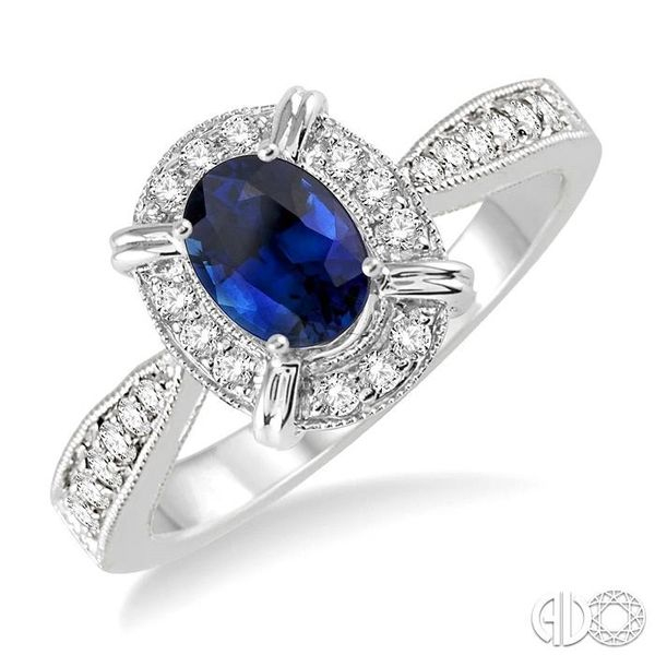 6x4 MM Oval Shape Sapphire and 1/6 Ctw Single Cut Diamond Ring in 14K White Gold Robert Irwin Jewelers Memphis, TN