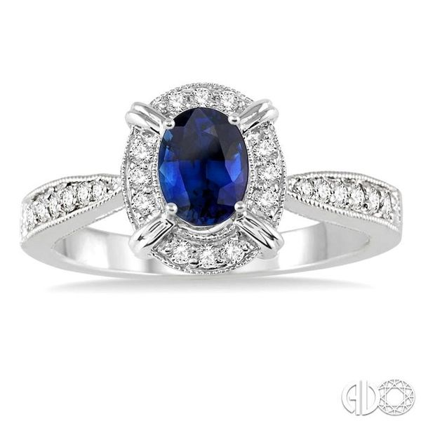6x4 MM Oval Shape Sapphire and 1/6 Ctw Single Cut Diamond Ring in 14K White Gold Image 2 Robert Irwin Jewelers Memphis, TN