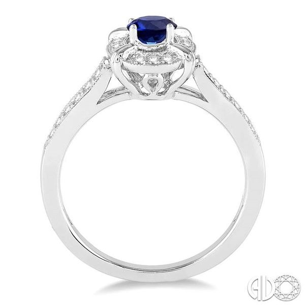 6x4 MM Oval Shape Sapphire and 1/6 Ctw Single Cut Diamond Ring in 14K White Gold Image 3 Robert Irwin Jewelers Memphis, TN