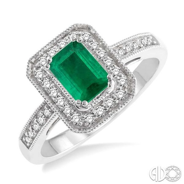 6x4 MM Octagon Cut Emerald and 1/4 Ctw Round Cut Diamond Ring in 14K White Gold Robert Irwin Jewelers Memphis, TN