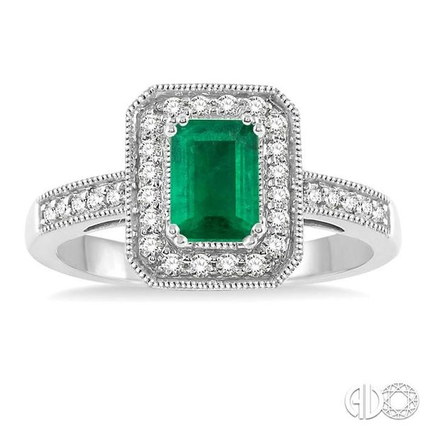 6x4 MM Octagon Cut Emerald and 1/4 Ctw Round Cut Diamond Ring in 14K White Gold Image 2 Robert Irwin Jewelers Memphis, TN