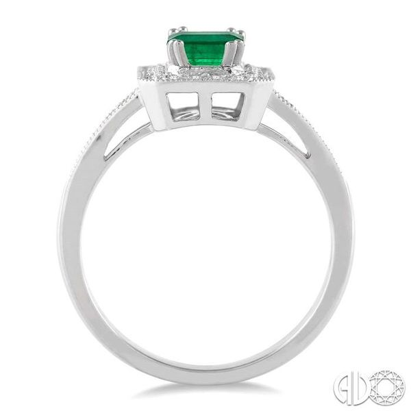 6x4 MM Octagon Cut Emerald and 1/4 Ctw Round Cut Diamond Ring in 14K White Gold Image 3 Robert Irwin Jewelers Memphis, TN