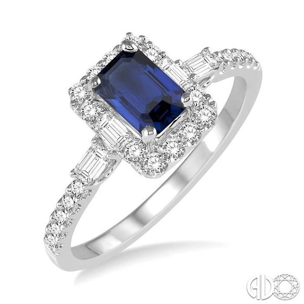 6x4 MM Octagon Cut Sapphire and 1/2 Ctw Round Cut Diamond Ring in 14K White Gold Robert Irwin Jewelers Memphis, TN