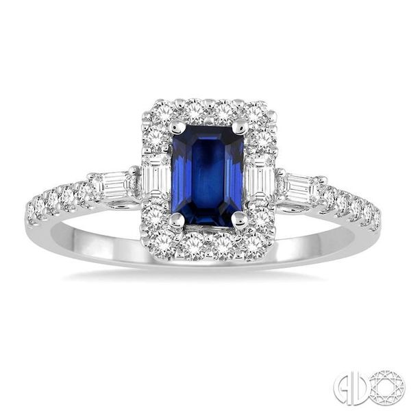 6x4 MM Octagon Cut Sapphire and 1/2 Ctw Round Cut Diamond Ring in 14K White Gold Image 2 Robert Irwin Jewelers Memphis, TN