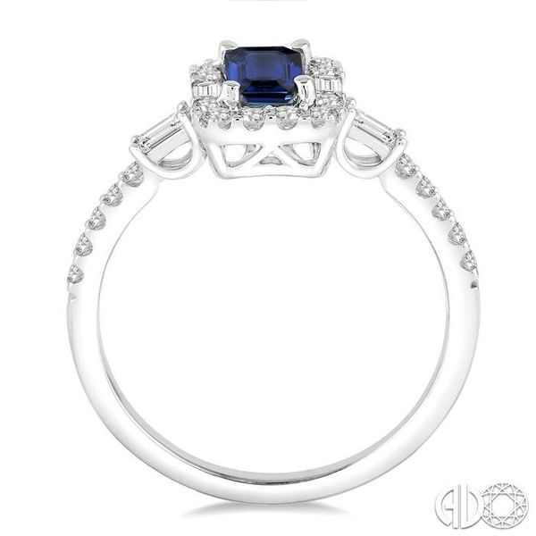 6x4 MM Octagon Cut Sapphire and 1/2 Ctw Round Cut Diamond Ring in 14K White Gold Image 3 Robert Irwin Jewelers Memphis, TN