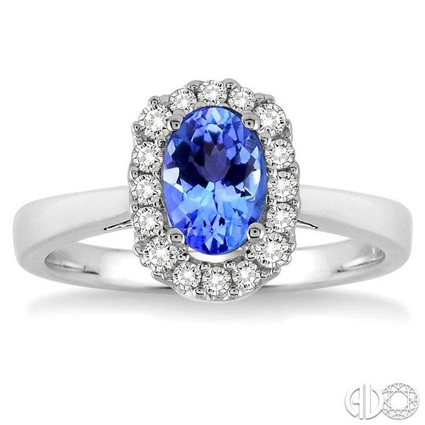 6x4 MM Oval Cut Tanzanite and 1/6 Ctw Round Cut Diamond Ring in 14K White Gold Image 2 Robert Irwin Jewelers Memphis, TN