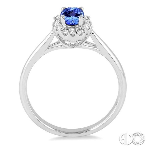 6x4 MM Oval Cut Tanzanite and 1/6 Ctw Round Cut Diamond Ring in 14K White Gold Image 3 Robert Irwin Jewelers Memphis, TN