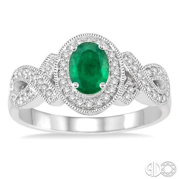 6x4 MM Oval Cut Emerald and 1/4 Ctw Round Cut Diamond Ring in 10K White Gold Image 2 Robert Irwin Jewelers Memphis, TN