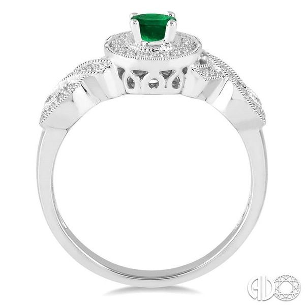 6x4 MM Oval Cut Emerald and 1/4 Ctw Round Cut Diamond Ring in 10K White Gold Image 3 Robert Irwin Jewelers Memphis, TN