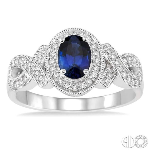 6x4 MM Oval Cut Sapphire and 1/4 Ctw Round Cut Diamond Ring in 10K White Gold Image 2 Robert Irwin Jewelers Memphis, TN