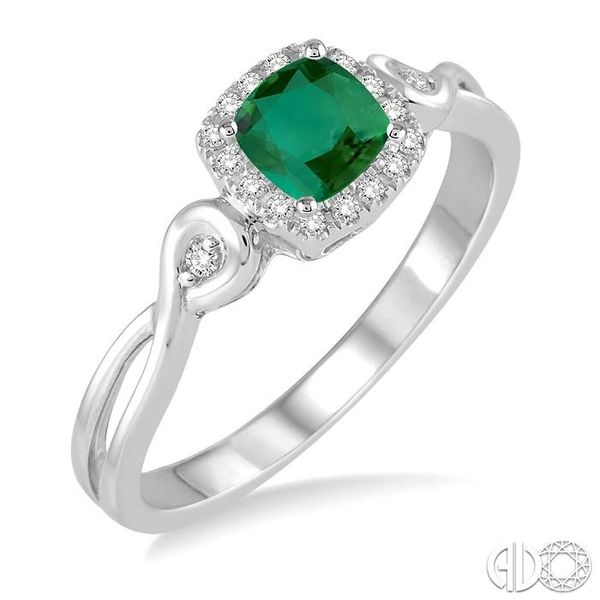 4x4 MM Cushion Cut Emerald and 1/10 Ctw Round Cut Diamond Ring in 14K White Gold Robert Irwin Jewelers Memphis, TN