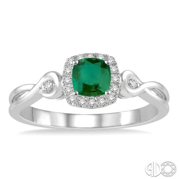 4x4 MM Cushion Cut Emerald and 1/10 Ctw Round Cut Diamond Ring in 14K White Gold Image 2 Robert Irwin Jewelers Memphis, TN