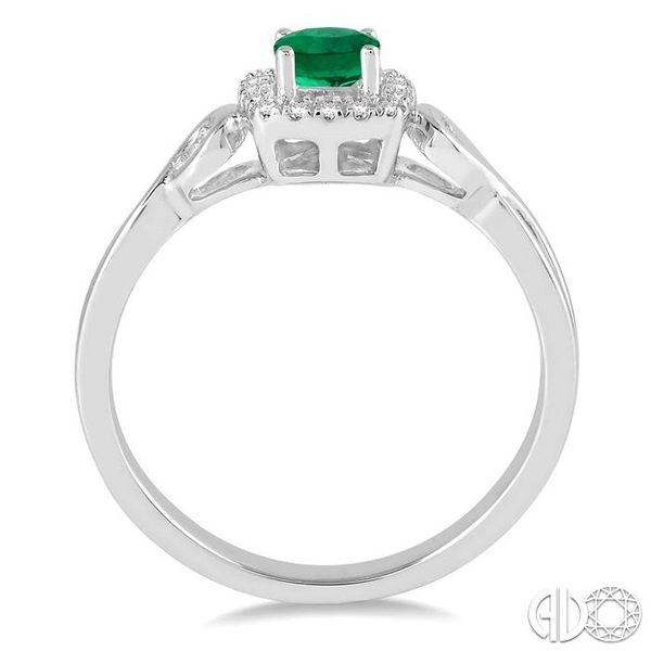 4x4 MM Cushion Cut Emerald and 1/10 Ctw Round Cut Diamond Ring in 14K White Gold Image 3 Robert Irwin Jewelers Memphis, TN