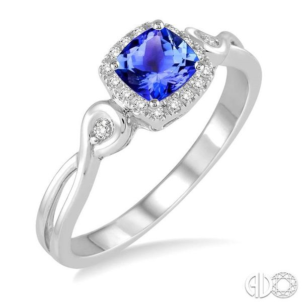 4x4 MM Cushion Cut Tanzanite and 1/10 Ctw Round Cut Diamond Ring in 14K White Gold Robert Irwin Jewelers Memphis, TN