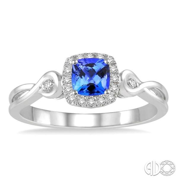 4x4 MM Cushion Cut Tanzanite and 1/10 Ctw Round Cut Diamond Ring in 14K White Gold Image 2 Robert Irwin Jewelers Memphis, TN