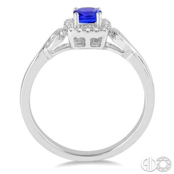 4x4 MM Cushion Cut Tanzanite and 1/10 Ctw Round Cut Diamond Ring in 14K White Gold Image 3 Robert Irwin Jewelers Memphis, TN