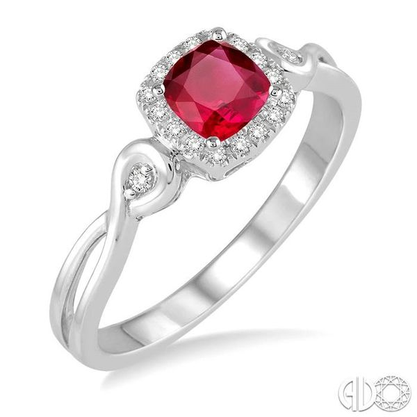 4x4 MM Cushion Cut Ruby and 1/10 Ctw Round Cut Diamond Ring in 10K White Gold Robert Irwin Jewelers Memphis, TN