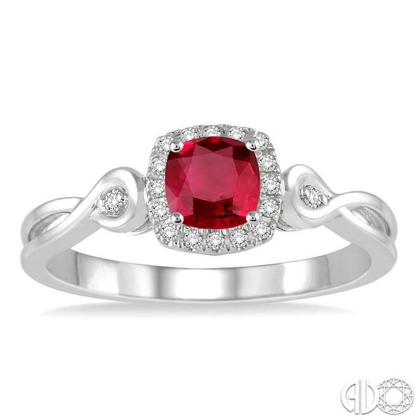 4x4 MM Cushion Cut Ruby and 1/10 Ctw Round Cut Diamond Ring in 10K White Gold Image 2 Robert Irwin Jewelers Memphis, TN