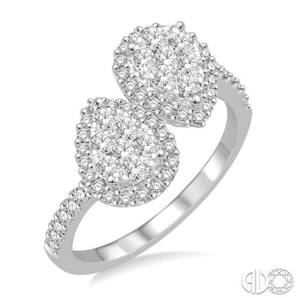 3/4 Ctw Inverted Duo Oval Shape Round Cut Diamond Lovebright 2Stone Ring in 14K White Gold Robert Irwin Jewelers Memphis, TN