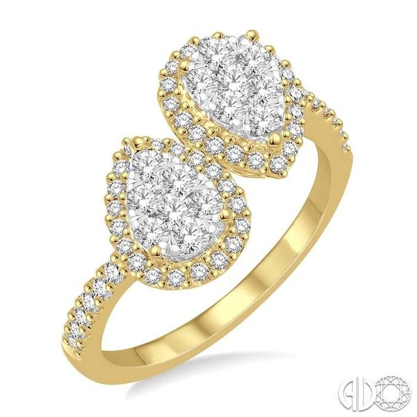 3/4 Ctw Inverted Duo Oval Shape Round Cut Diamond Lovebright 2Stone Ring in 14K Yellow and White Gold Robert Irwin Jewelers Memphis, TN