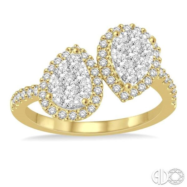 3/4 Ctw Inverted Duo Oval Shape Round Cut Diamond Lovebright 2Stone Ring in 14K Yellow and White Gold Image 2 Robert Irwin Jewelers Memphis, TN